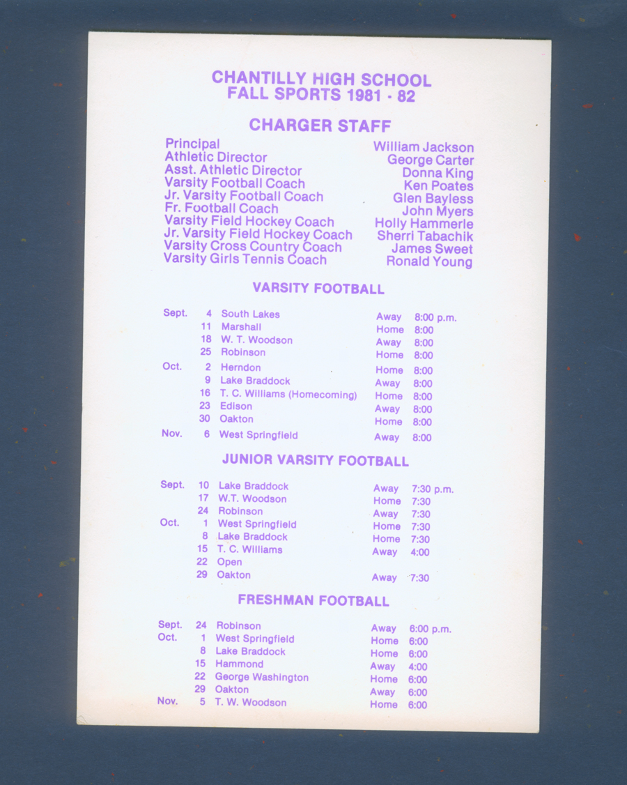 Chantilly High School CLass 1982 Sports Schedule 1